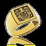 Wappenring in Gelbgold, Klassik-Cushion Form mit Wappen von Kunde.