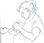"""Selbstbildnis, Untertitel: """"Manuelita wird bekleidet"""", 1952 - Tuschezeichnung von Faustina Iselin"""