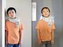 ボーダーTシャツ:PETIT BATEAU/ストール:agnès b.