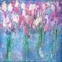 Flower love I, Acryl auf Leinwand, 20x20x2 cm, 2020, 160 €