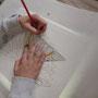 Zeichnung in der richtigen Größe auf das Schablonenpapier