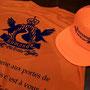 今年はオレンジカラーにネイビープリントのとても目立つ配色に仕上がった「熊野古道トレイルランニング」のTシャツです。