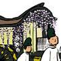 祭イラスト 祇園祭 京都の祭 筆線キャラクタータッチ 和風