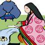 伝統行事イラスト曲水の宴 十二単で和歌を詠む 筆線キャラクタータッチ 和風