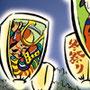 祭イラスト 風船祭 筆線キャラクタータッチ 和風