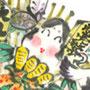 正月用イラスト 七福神 熊手 獅子舞 福笑い 凧揚げ 縁起物 季節行事 墨彩画(絵手紙・昔話風タッチ)和風