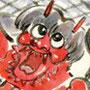鬼踊り 日本の祭カレンダーイラスト 墨彩画(絵手紙・昔話風タッチ)和風
