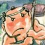 かっぱの使い 童話読み聞かせ絵本挿絵 墨彩画(絵手紙・昔話風タッチ)
