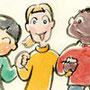 世界の子どもイラスト 平和 人種 小学生教材の挿絵 墨彩画(絵手紙・昔話風タッチ)