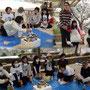 お昼のメニューはカレーライス♪ その後ゲームも楽しみました。ブルーシートに桜の花びらが… (^.^)