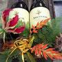 dekorierte Weinflaschen