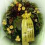 Winterkranz (Rosen werden später entfernt, der Kranz ist dann bis im Frühjahr haltbar) ca 70cm mit Schleife Fr. 450.-