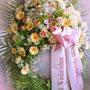 klassischer Bouquetkranz ca 65 cm mit Schleife Fr 400.-