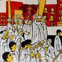 """""""Choreografie der Revolution 3"""", Mixed Media auf Schichtholz, 38 cm x 38 cm, 2012"""