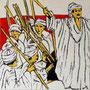 """""""Choreografie der Revolution 2"""", Mixed Media auf Schichtholz, 38 cm x 38 cm, 2012"""