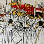 """""""Choreografie der Revolution 4"""", Mixed Media auf Schichtholz, 38 cm x 38 cm, 2012"""