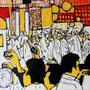 """""""Choreografie der Revolution 5"""", Mixed Media auf Schichtholz, 38 cm x 38 cm, 2012"""