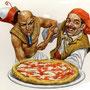 LA PIZZA: EGIZIANI vs NAPOLETANI, di A.Molino. Acrilici su cartone. Da FOCUS, 2003
