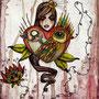 bird:love  105 x 148   watercolor pigmentliner   2011  SOLD