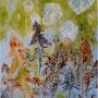 """Garden Late Rain"", acrylic and nature print on canvas, 12""x10"", 2006. NFS"