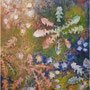 """Fireworks"", acrylic and nature print on canvas, 30""x24"", 2008."