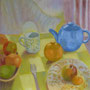 """Blue Teapot and Fruit #2"", oil on canvas, 20"" x 20"", 2013."