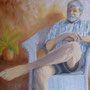 """Man in White Chair"", oil on canvas, 36"" x 48"", 2013. NFS"