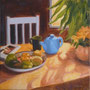 """Blue Teapot and Fruit #1"", oil on canvas, 20"" x 20"", 2013. Private Collection."