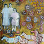 """Family Ties"", acrylic and gel transfer on canvas, 30""x24"", 2004. Selected for Sir Winston Churchill Square Banner Project. The Places, Art & Design in Public Places Program. Sir Winston Churchill Square, Edmonton, Canada, 2008. NFS"