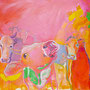 Cow Party: Acryl auf Leinwand, 80 x 60 cm