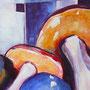Reiche Ausbeute: Acryl/Aquarell auf Papier, 40 x 50 cm