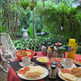 """<font size=""""+2""""><b>unser erstes Frühstück auf Kuba, mit Früchten und Fruchtsaft ( jugo )"""