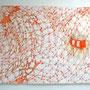 'Durchstoßpunktverfahren' 4 , 2006, pencil/acryl/orange beads/oilpastel  110x75 €1.350