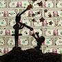 Menschenbild IV, acrylic,dollars,canvas, 60x40cm, 1990, € 2.600