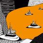 Sonstwo k / Schwimmende Inseln / orange / 325,5 x 270 cm / Digitaldruck auf Vliestapete, 7 Bahnen