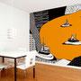 Sonstwo k / Schwimmende Inseln / orange / 325,5 x 270 cm / Raumbild