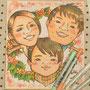 ご家族の似顔絵は、玄関先のおもてなしアイテムとして大変人気です。