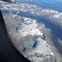 Flug über Berge und Gletscherssen der Südinsel