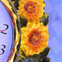 Cute & collectible KMC quartz wall clock with sunflowers frame