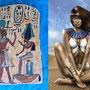 Juego de 3 paneles pintados a mano con motivos del antiguo Egipto