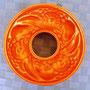 """Molde redondo de cobre para gelatinas, 10"""" x 2 ½""""; diseño en relieve de plátanos, peras, uvas y rodajas de piña"""