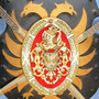 Vintage decorative shield with 2 swords wall decor plaque made in Spain