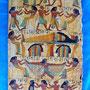 Juego de tres tablillas pintadas a mano con motivos del antiguo Egipto