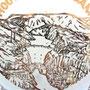 Antiguo platito souvenir de la presa Hoover dibujado con su central eléctrica, su embalse, sus riberas en Arizona y en Nevada. etc.