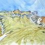 Peint sur le chemin, au retour d'un affût infructueux au lagopède ; les marmottes crient (Hautes-Alpes, mai 2008)