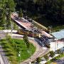 So präsentierte sich 2002 die Station Ruhbank vom Fernsehturm aus. Damals noch mit der Wendeschleife für die GT4.