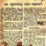 Krantenartikel feestavond opnening tunnel in juni 1964