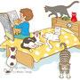 子供と動物のイラスト「新聞を読む男の子とねこ」