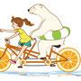 女の子とシロクマのイラスト「サイクリング」