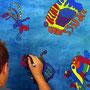 Wandbild in Arbeit